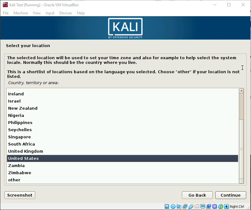 Kali OS Install Screen Select Country