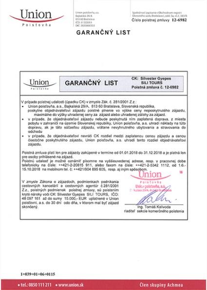 Sili Tours - garančný list