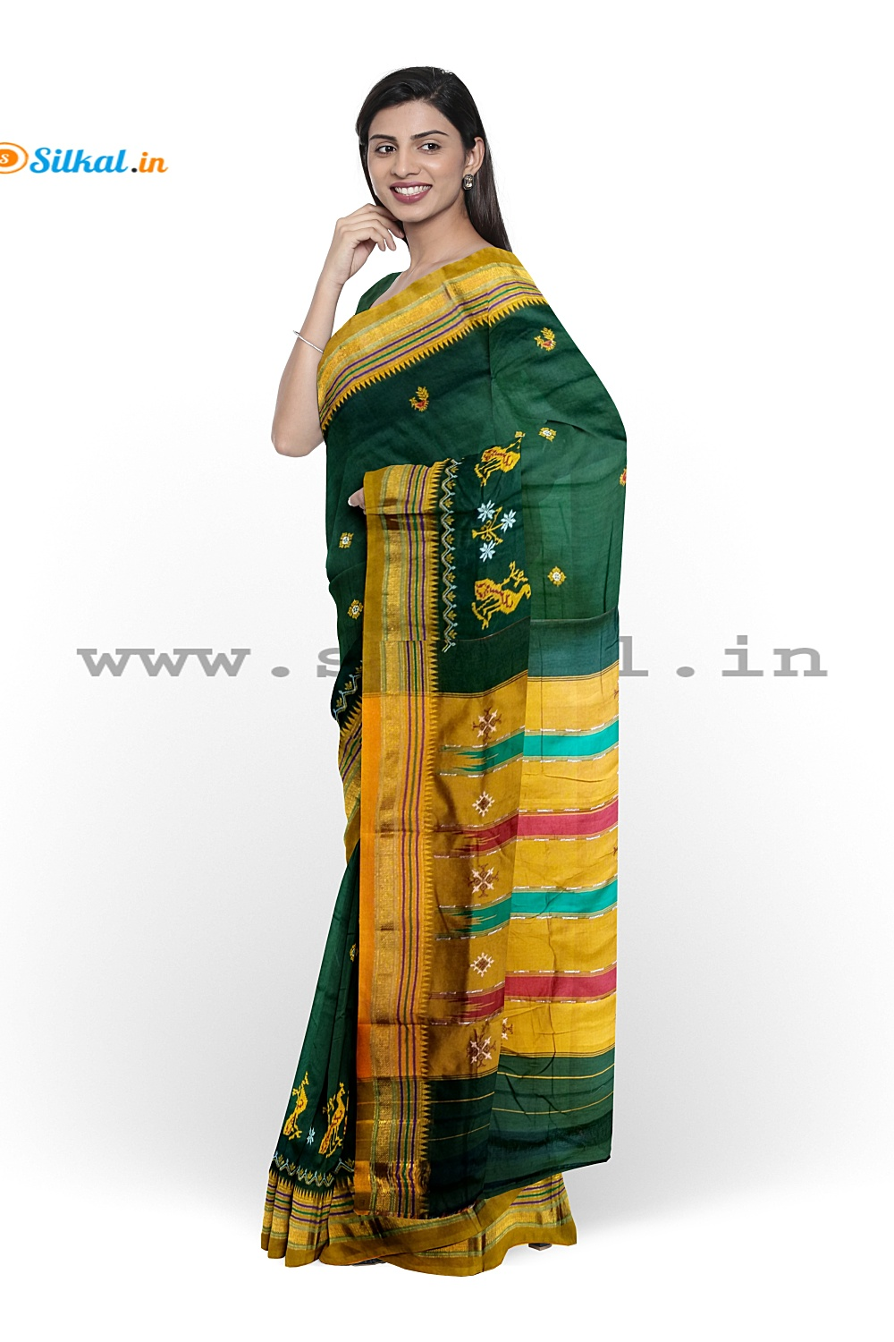 Ilkal Silk by Cotton Kasuti Work Saree
