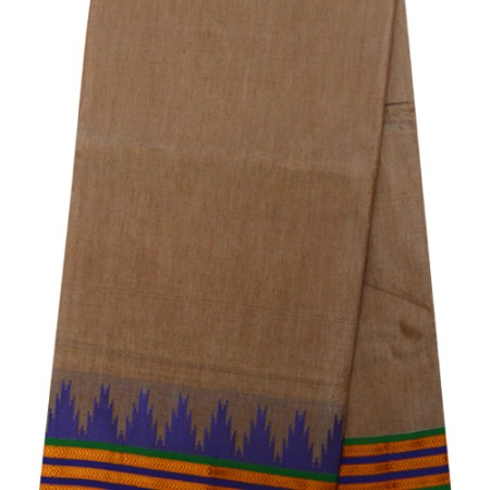 Ilkal Silk by Cotton Plain temple Border Saree
