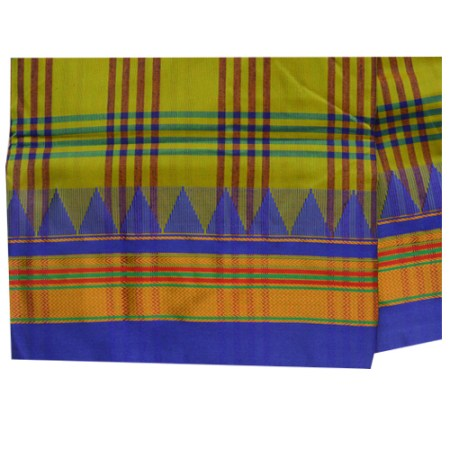 Ilkal Silk by Cotton Big Checks Temple border Saree