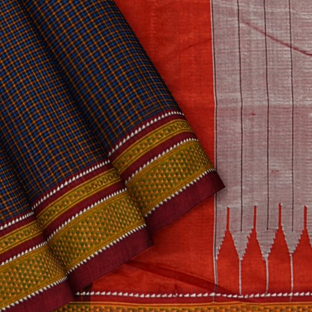 ILKAL HANDLOOM SILK BY COTTON SMALL CHECKS CHIKKI PARAS SAREES