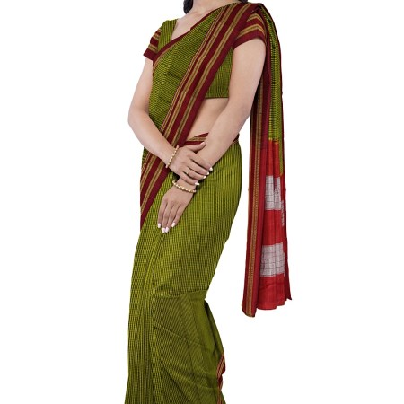 ILKAL HANDLOOM SILK BY COTTON CHIKKI PARAS SAREES