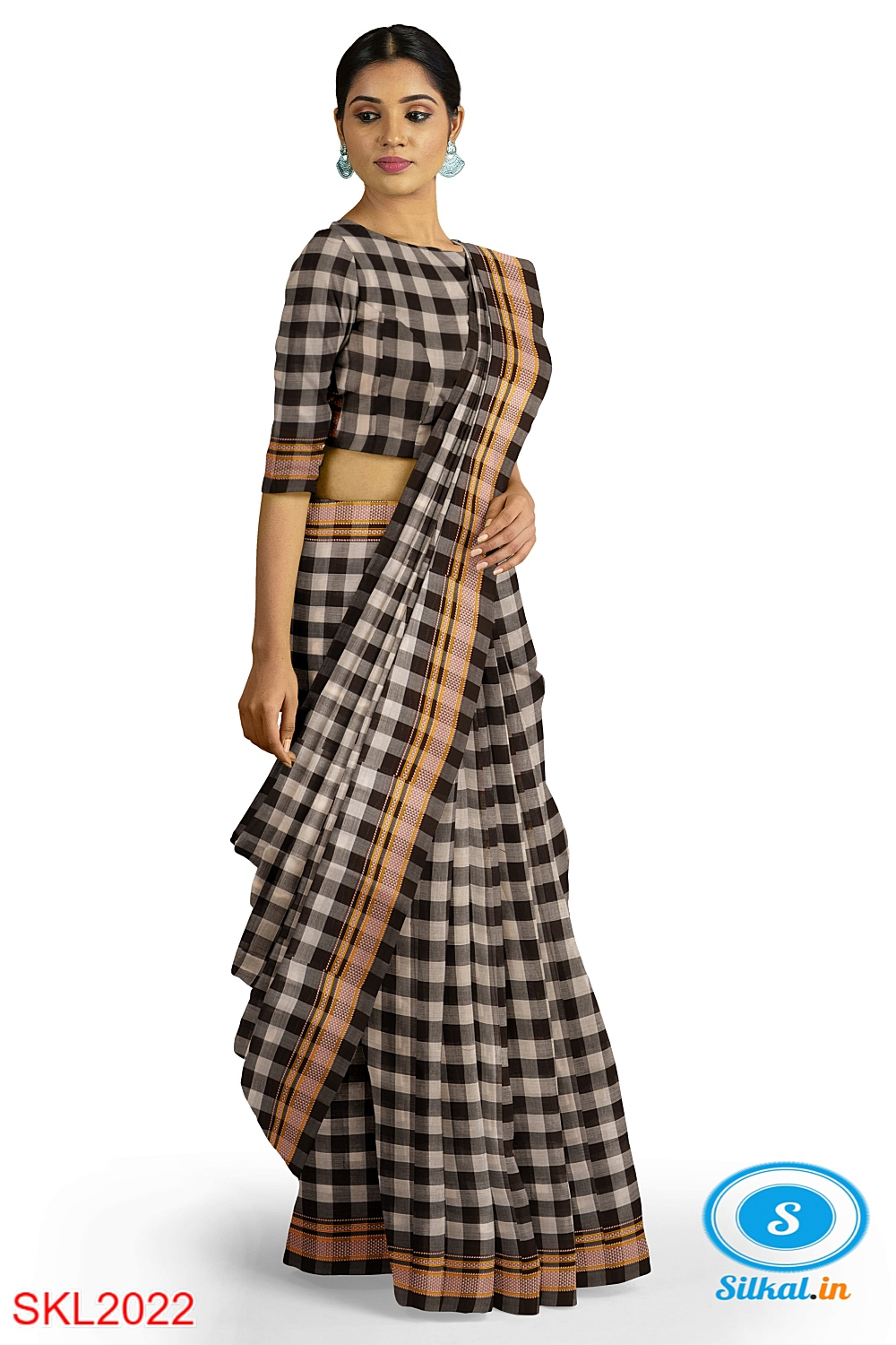 ILKAL HANDLOOM SILK BY MASRISE COTTON BIG CHECKS SAREE