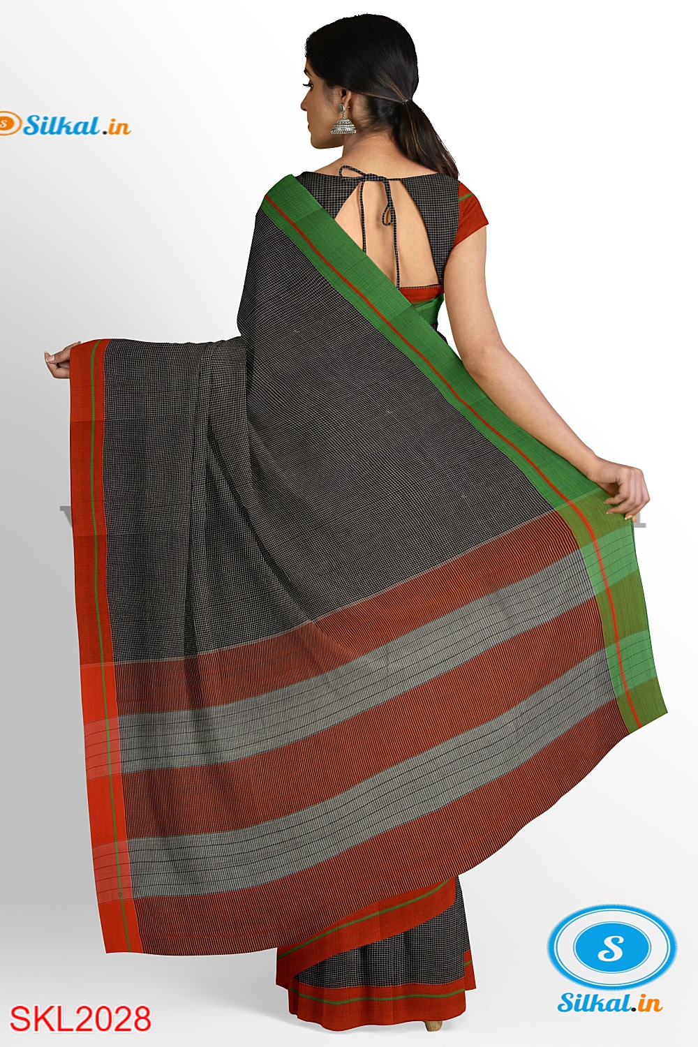 RAMDURGA HANDLOOM COTTON BY COTTON SMALL CHECKS SAREES