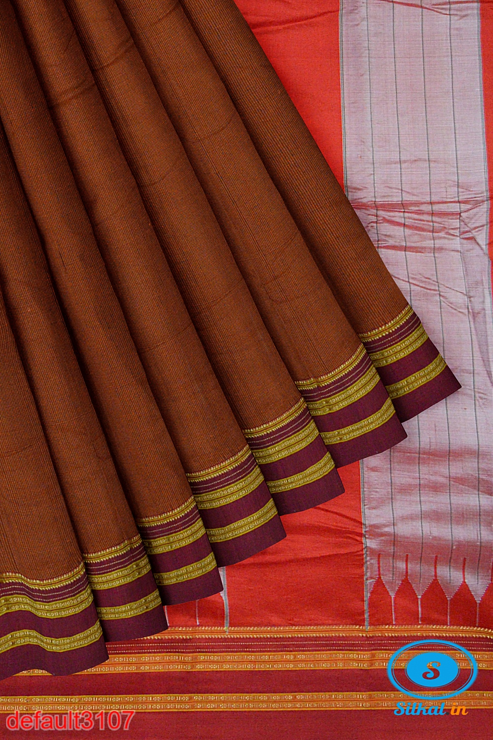 ILKAL HANDLOOM SILK BY COTTON SMALL CHACKS BIG BHOOMI BORDER SAREES