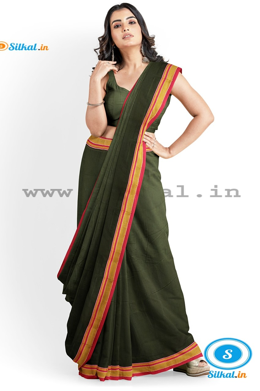 ILKAL PLAIN COTTON SAREE WITH CHIKKI PARAS BORDER