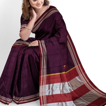 ILKAL HANDLOOM ROW SILK KADDI SAREE WITH GOMI BORDER