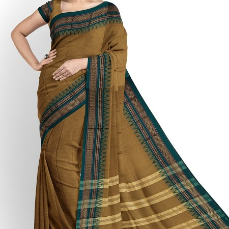 NARAYAN PETH PLAIN COTTON SAREE WITH PATTI PALLU
