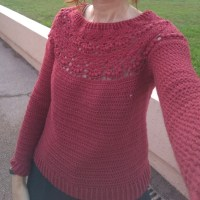 Berry crochet sweater - top down round yoke