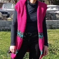 Crochet vest with a hood