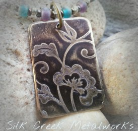 Etched Brass Necklace with Vintage Style Floral Design