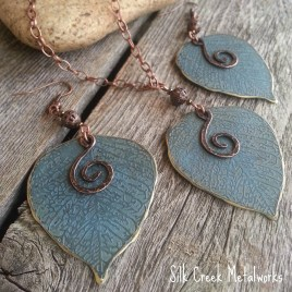Blue Aspen Leaf Set with Copper Spirals