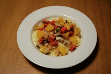 Couscous with Roasted Veggies and Peaches