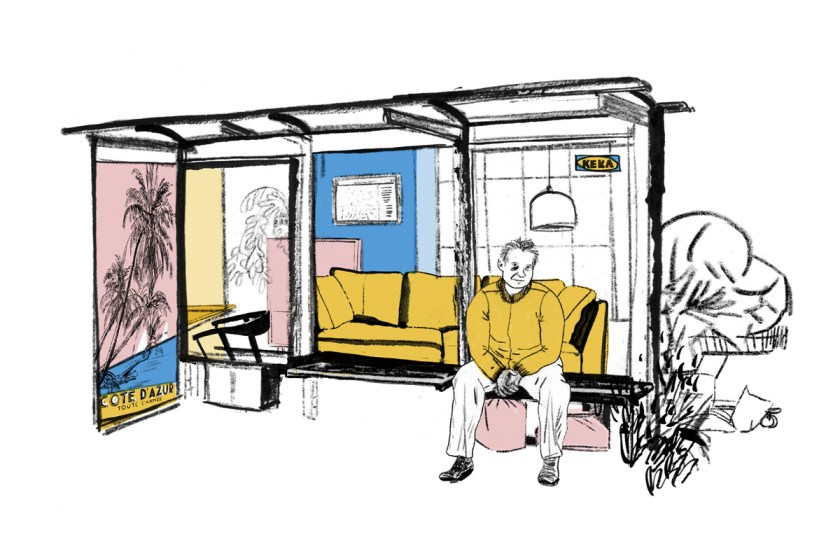 Wohnen in einer Bushaltestelle, Boulevardzeitung Augustin, Illustration, Silke Müller, Linz, Freelance illustrator
