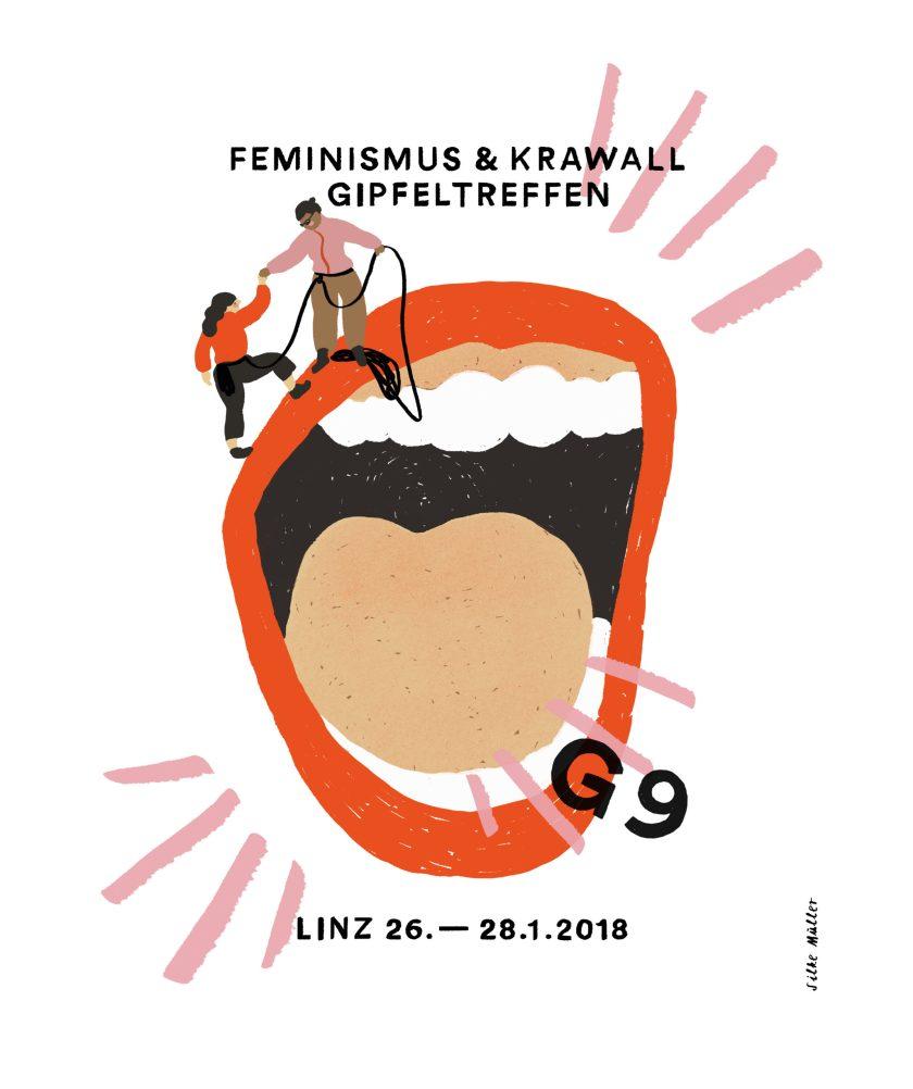 Feminismus und Krawall Gipfeltreffen in Linz, Illustration ©Silke Müller