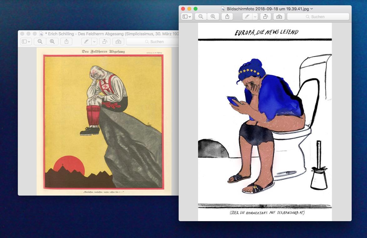 """Illustration für """"Der grinsende Pinguin""""   Europa liest die News - Oder, die Kommentare auf derstandard.at   ©Silke Müller"""