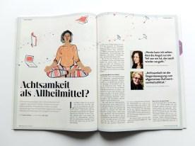 Achtsamkeit als Allheilmittel - Welt der Frauen | Illustration © Silke Müller, Linz, 2019