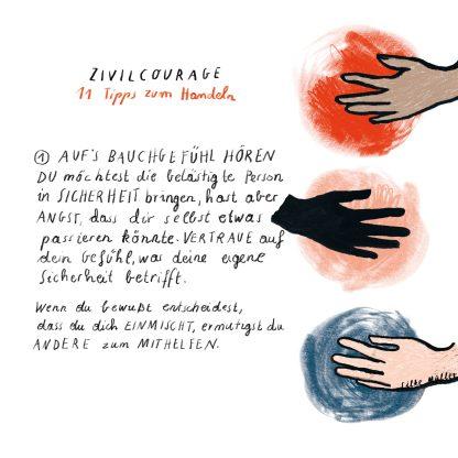 A2 Wandkalender mit Anleitungen · 11 Schritte für zivilcouragiertes Handeln · Bystandertraining | Illustration © Silke Müller