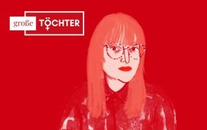 rotes Bild mit Titel vom Podcast mit Illustration einer Frau mit Brille und langen Haaren | Portrait von Beatrice Frasl | Illustration: ©Silke Müller