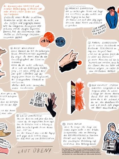 Anleitung · 11 Schritte für zivilcouragiertes Handeln · Bystandertraining | Illustration © Silke Müller