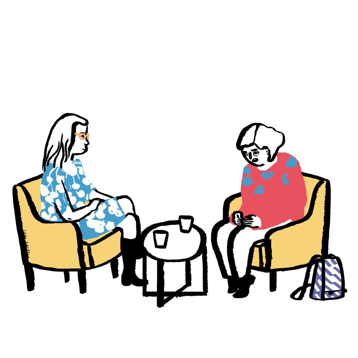 Maria ist bei der Frauenberatung und spricht mit der Psychologin dort.