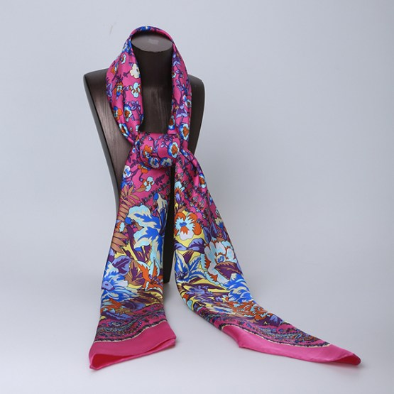 140cm Silk Scarf-Square Silk Scarf-Wholesale Scarfs-AAS004D