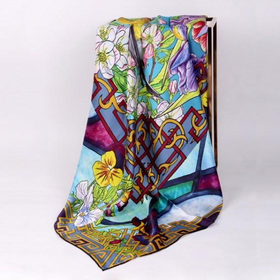 140cm Silk Scarf-Square Silk Scarf-Wholesale Scarfs-AAS006