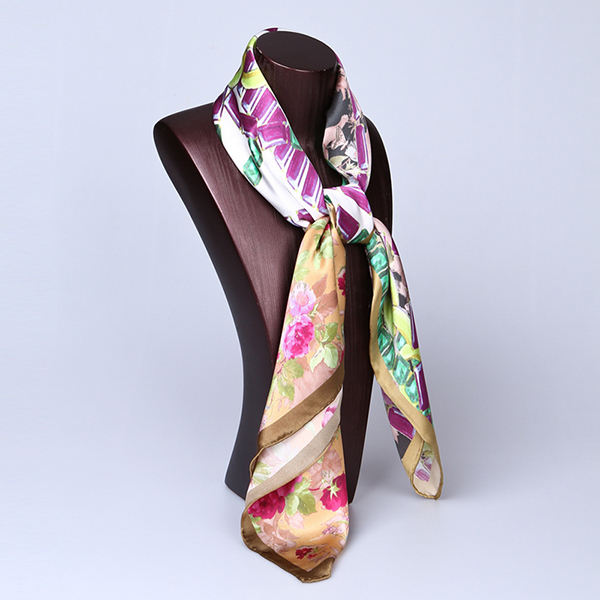 90cm Silk Scarf-Square Silk Scarf-Wholesale Scarfs-HA650D