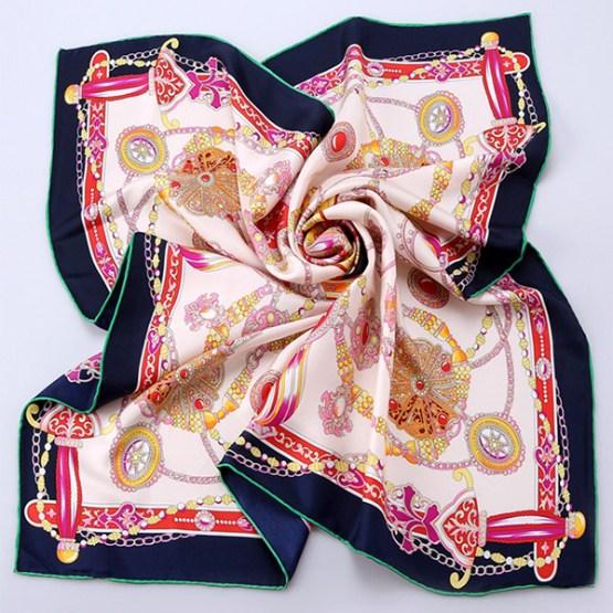 90cm Silk Scarf-Square Silk Scarf-Wholesale Scarfs-HA702D1