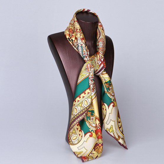 90cm Silk Scarf-Square Silk Scarf-Wholesale Scarfs-HA708A