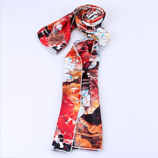 Long Silk Scarf-Digital Silk Scarf-Silk Scarf China-ALL015A