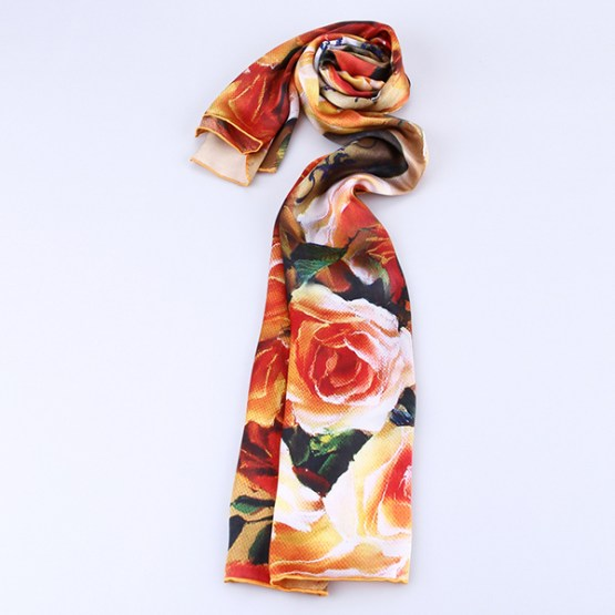 Long Silk Scarf-Digital Silk Scarf-Silk Scarf China-ALL016A