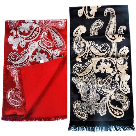 Mens Silk Scarf-Double Layers-Thick MSDT012