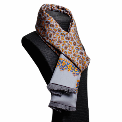 Mens Silk Scarf-Double Layers-Thick MSDT014I1