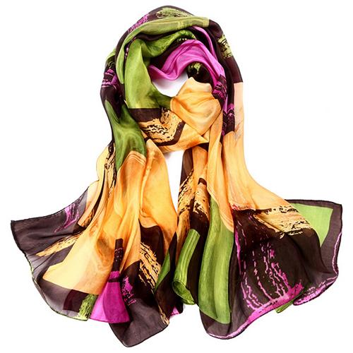 Silk Scarf -Infinity Scarf -Silk PAJ Scarf-Graffiti-SPGR010A