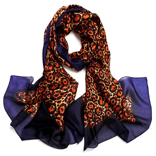Silk Scarf -Infinity Scarf -Silk PAJ Scarf-Leopard-SPLE012