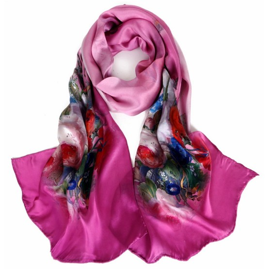 Silk Scarf-Long Digital Silk Scarf-Silk Satin SSSD01