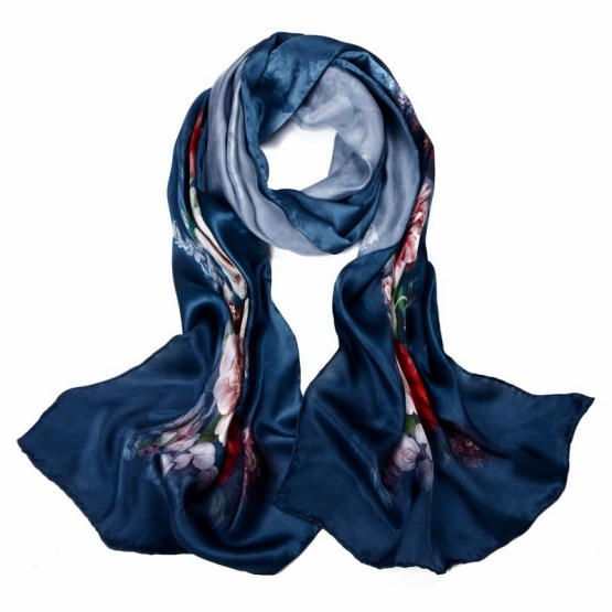 Silk Scarf-Long Digital Silk Scarf-Silk Satin SSSD013