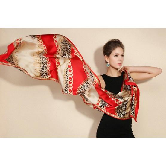 Silk Scarf-Long Digital Silk Scarf-Silk Satin SSSD041A