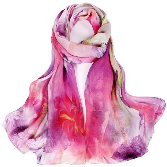 Silk Scarf-Silk Chiffon Scarf-Infinity Scarf-DSC013