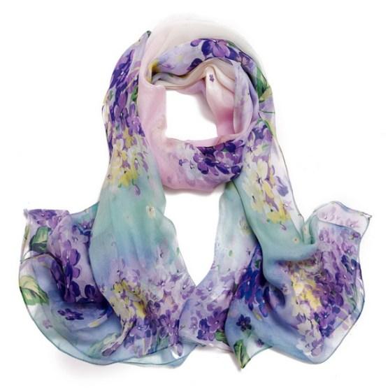 Silk Scarf-Silk Chiffon Scarf-Infinity Scarf-DSC042