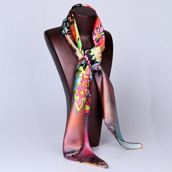 Square Silk Scarf-Silk Scarf-Digital Silk Scarf-100AA015