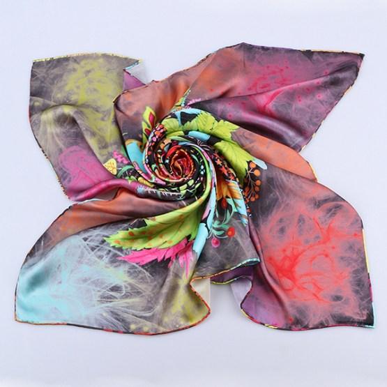 Square Silk Scarf-Silk Scarf-Digital Silk Scarf-100AA015B