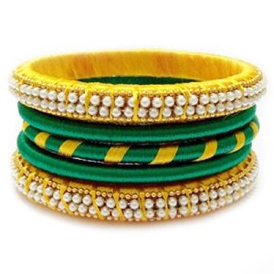 Yellow and gold Silk thread bangles set