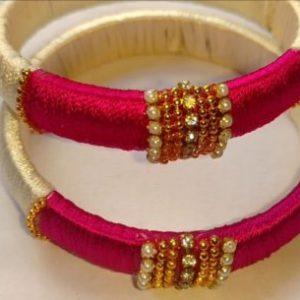 Cream n pink bangles