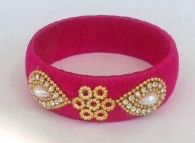 SIlk thread bangles pink coour