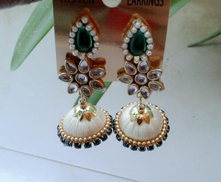 42d670197 250.00₹ 230.00₹. Designer white silk thread Jhumka. Product code: Swacre02.  White silk thread ...