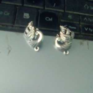 antique silver eacock studs