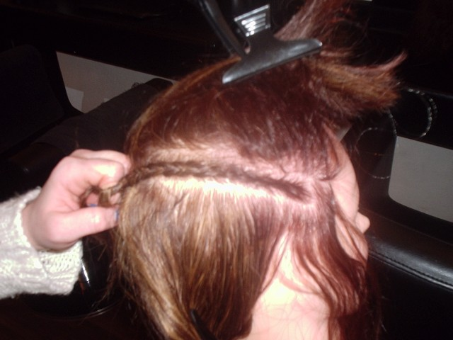 Silk Trends Hair Braiding Course – Adding weave tracks - Before